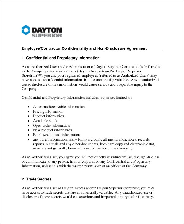 example confidentiality agreement for employment contractor