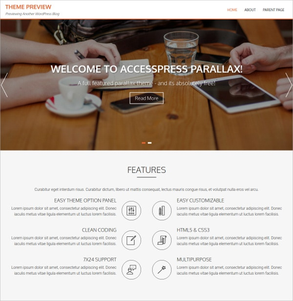 Beautiful Parallax WordPress Theme