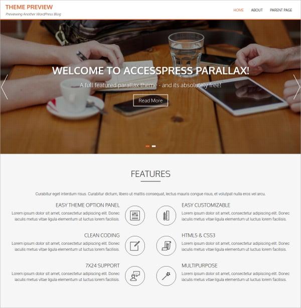beautiful parallax wordpress theme