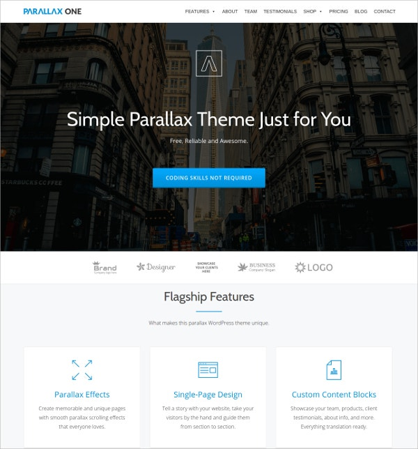 Free One Page WordPress Theme For Business