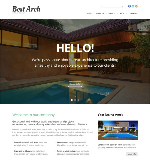 Architecture Parallax WordPress Theme $75