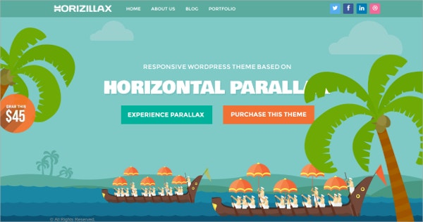 Horizontal Parallax WordPress Theme $49
