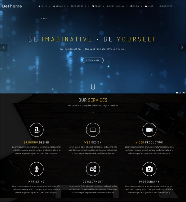 professional one page creative parallax wordpress theme