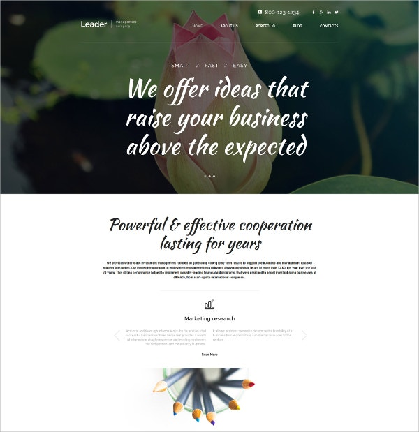 Management Parallax WordPress Theme $75