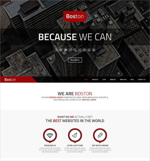 Corporate Parallax WordPress Theme $49