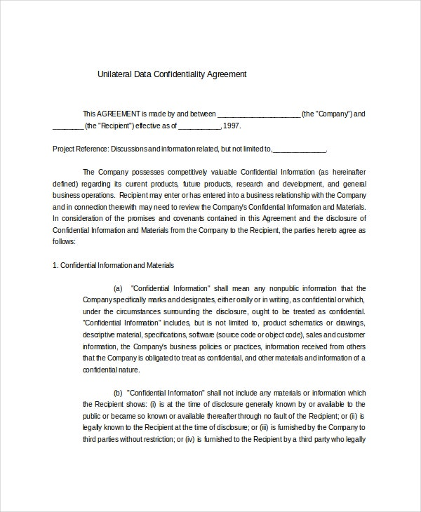 sample unilateral data confidentiality agreement