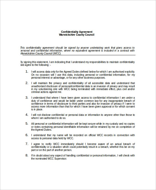 12 Data Confidentiality Agreement Templates Free Sample – Confidentiality Statement