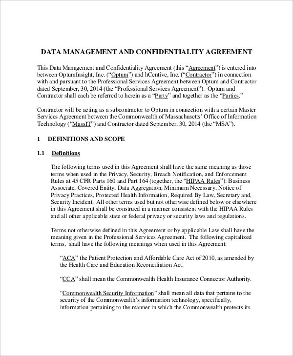 sample data management and confidentiality agreement