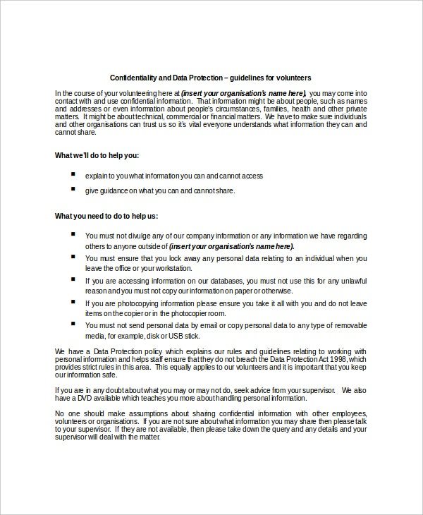 sample data protection confidentiality agreement