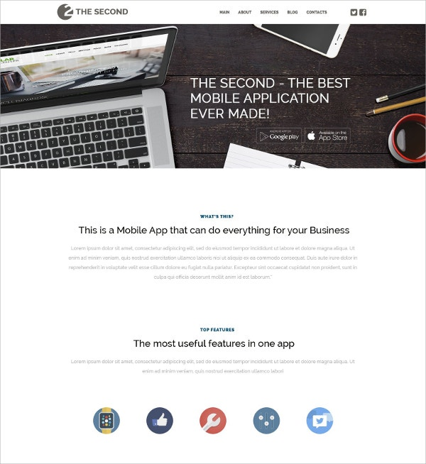 Mobile Applications WordPress Theme $75