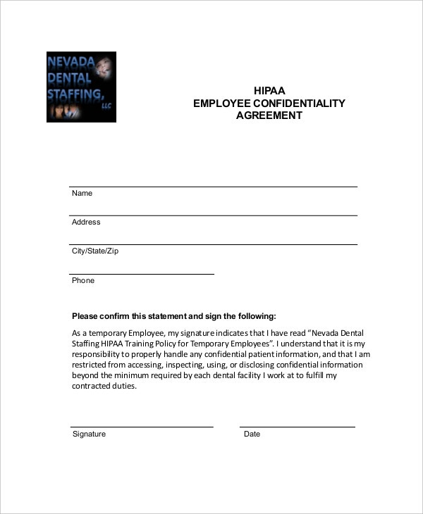 hipaa employee confidentiality agreement form example