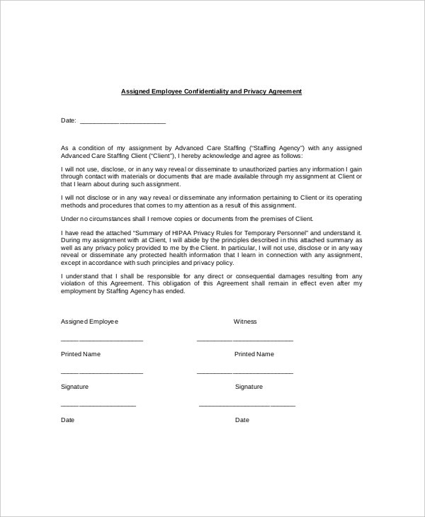9+ Employee Confidentiality Agreement Templates – Free Sample ...