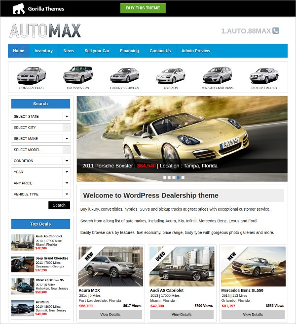 Mobile Vehicle Dealer WordPress Theme $39