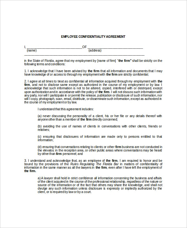 9 Employee Confidentiality Agreement Templates Free Sample – Standard Confidentiality Agreement
