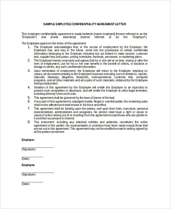 15 employee confidentiality agreement templates � free