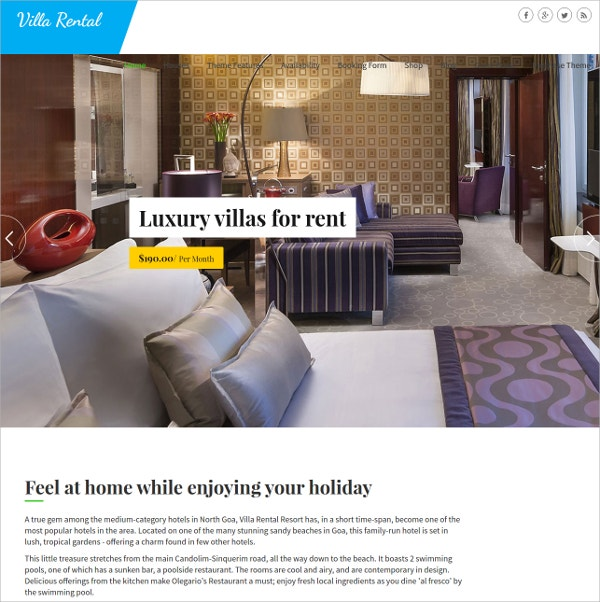 unique accomadations mobile wordpress theme