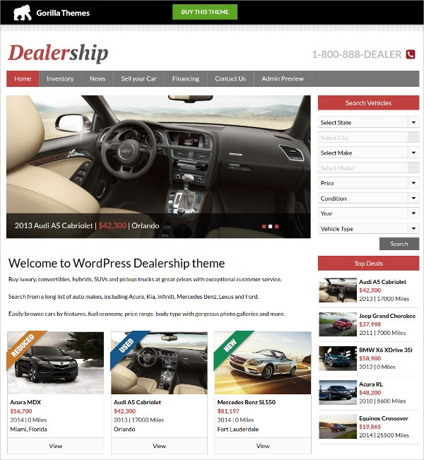 Mobile Car Dealer WordPress Theme $39