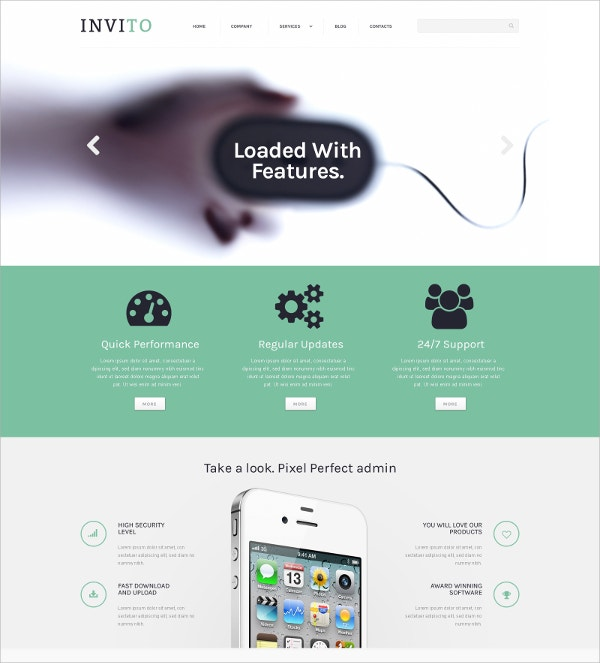 Blurred Mobile Company WordPress Theme $75