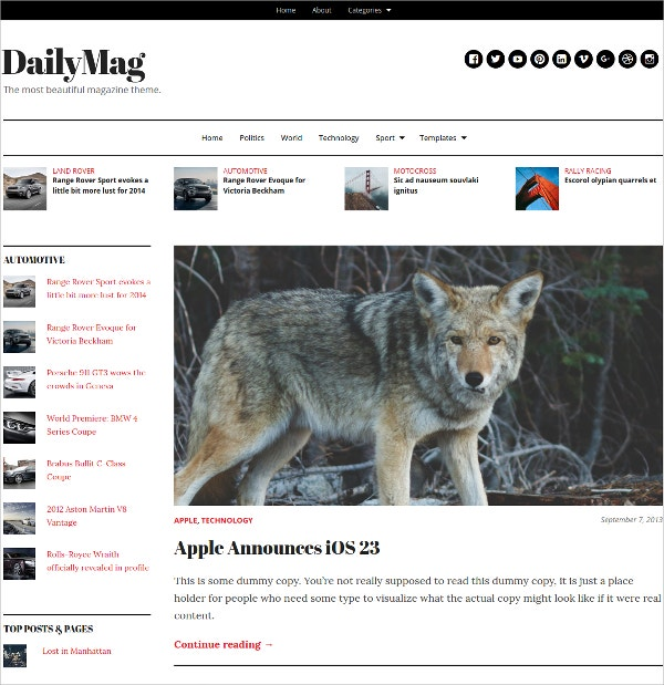 mobile magazine wordpress theme