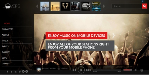Music Lovers Mobile WordPress Theme