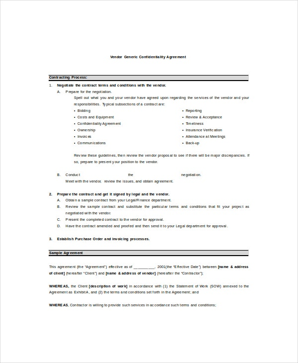 vendor generic confidentiality agreement sample