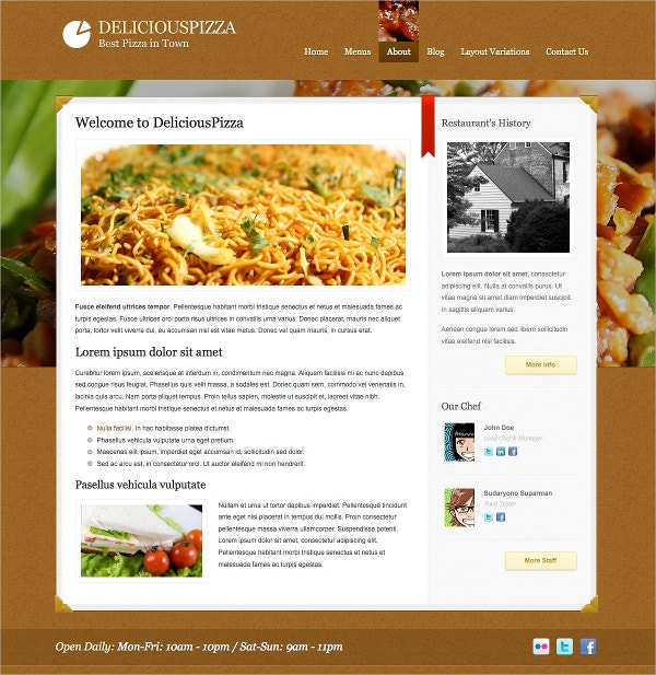 Delicious Restaurant Custom WordPress Theme $44