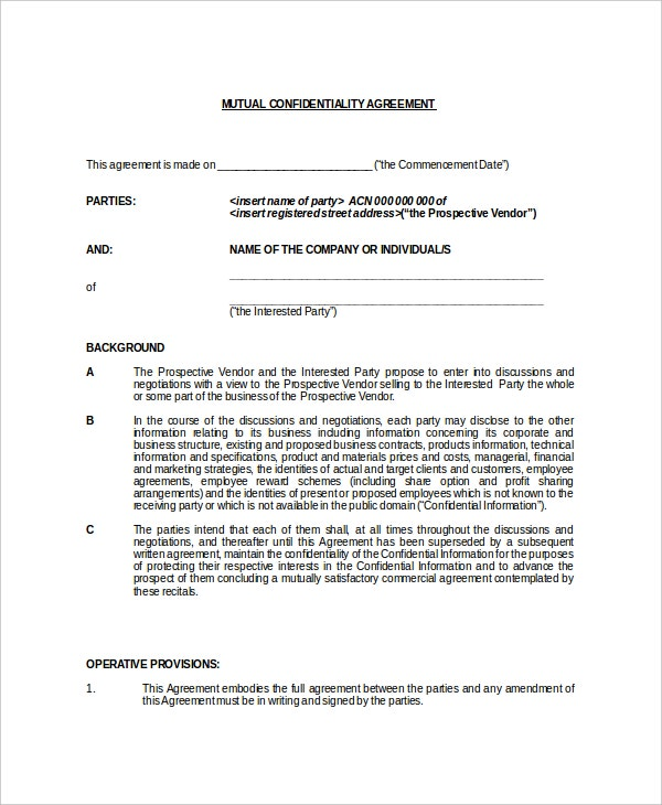 example mutual generic confidentiality agreement