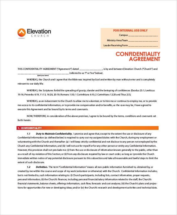 elevation church generic confidentiality agreement sample