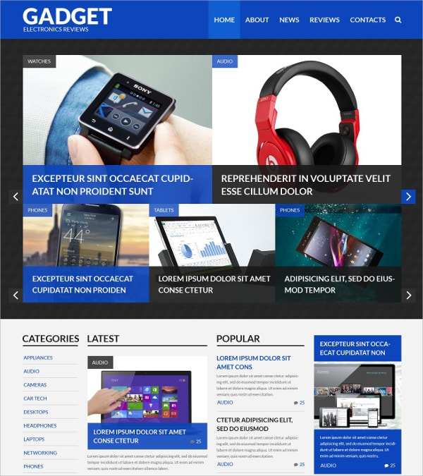 Gadget Custom WordPress Theme $75