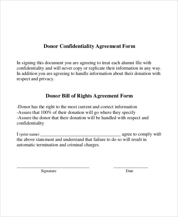 example donor generic confidentiality agreement form