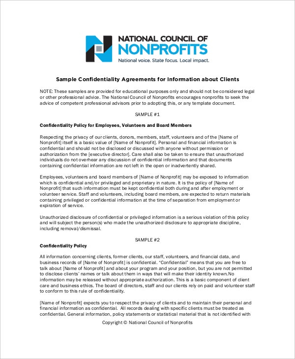 sample business generic confidentiality agreement councilofnonprofitsorg details file format