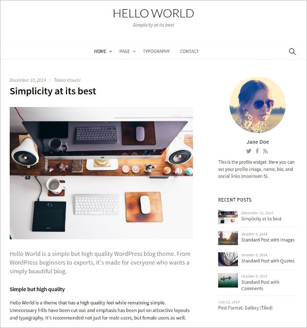 Feminine Custom WordPress Theme $69