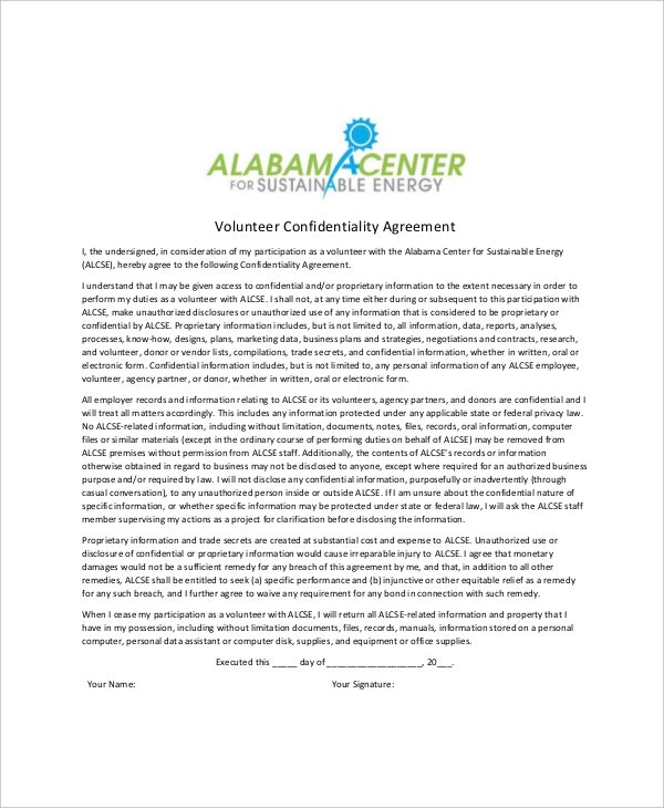 volunteer generic confidentiality agreement example