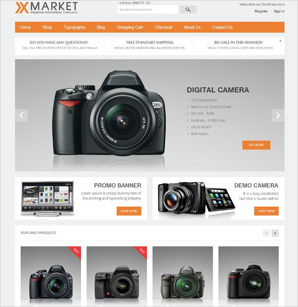 Responsive WordPress eCommerce Custom Theme $59