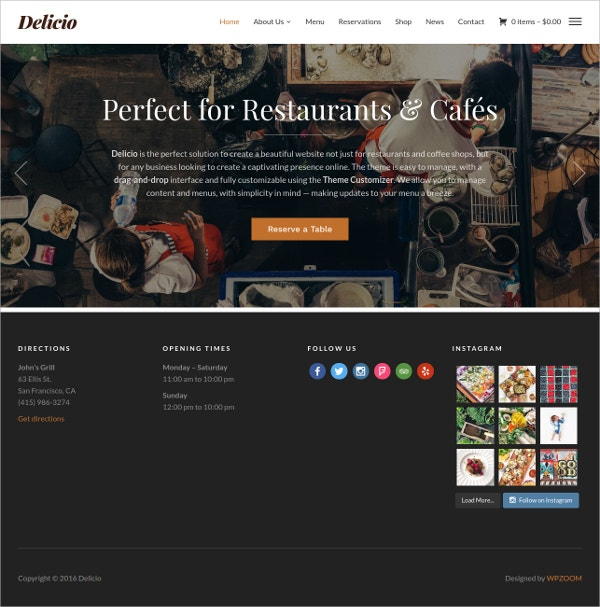 Food & Restaurant Custom WordPress Theme $69