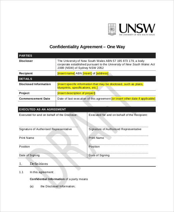 one way generic confidentiality agreement example