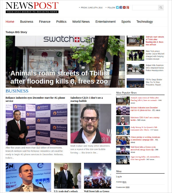 News Magazine Custom WordPress Theme $39