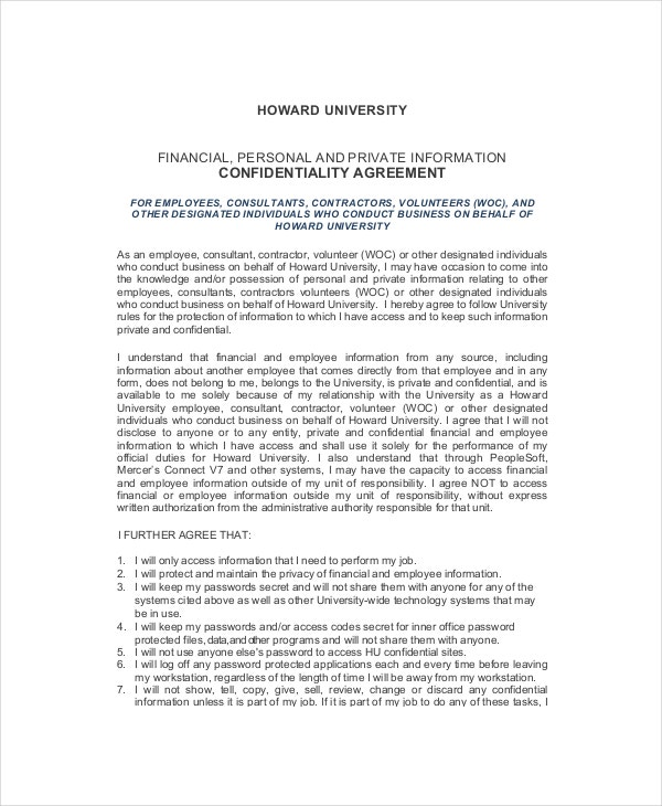 Human Resources Confidentiality Agreement Templates  Free