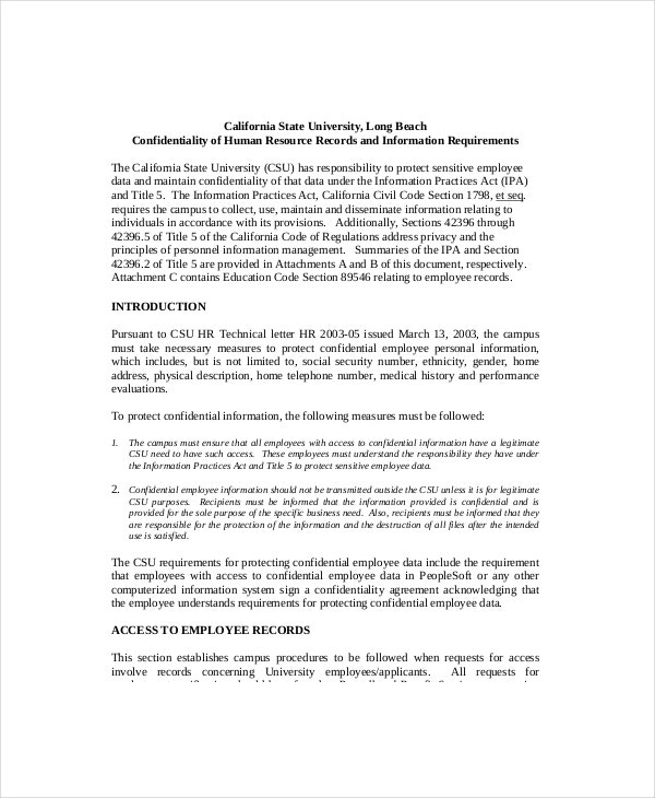 9 Human Resources Confidentiality Agreement Templates Free – Sample Confidentiality Agreement