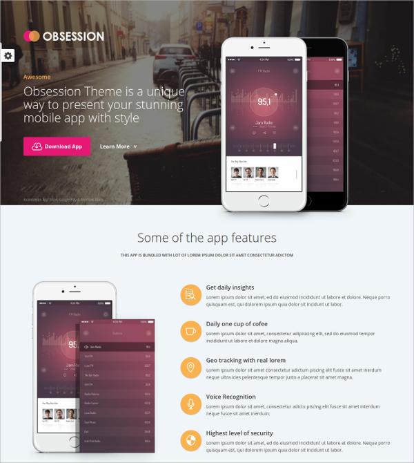 Responsive App Landing Page WordPress Theme $44