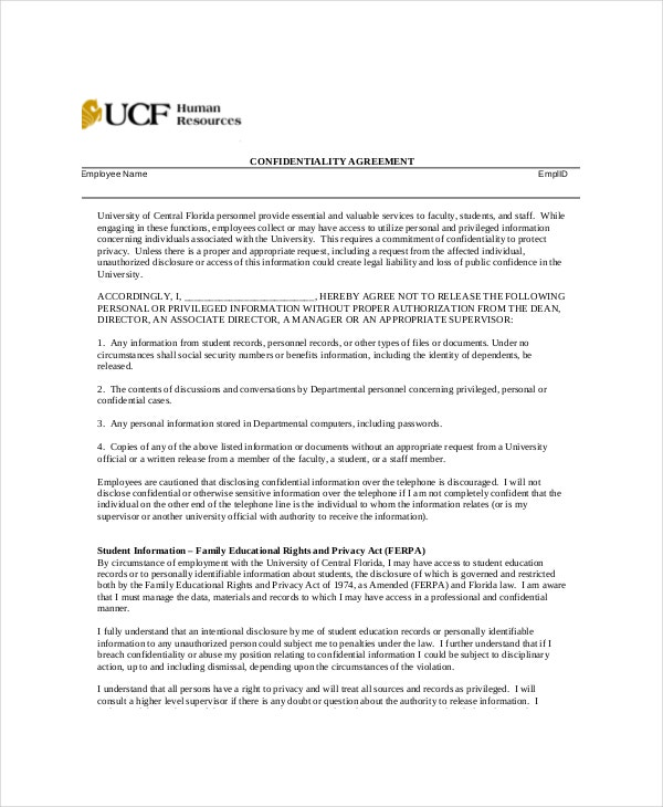 sample generic human resources confidentiality agreement