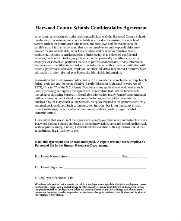 human resources confidentiality agreement form sample