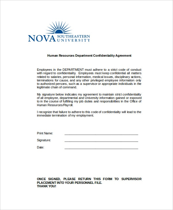 example human resources department confidentiality agreement1