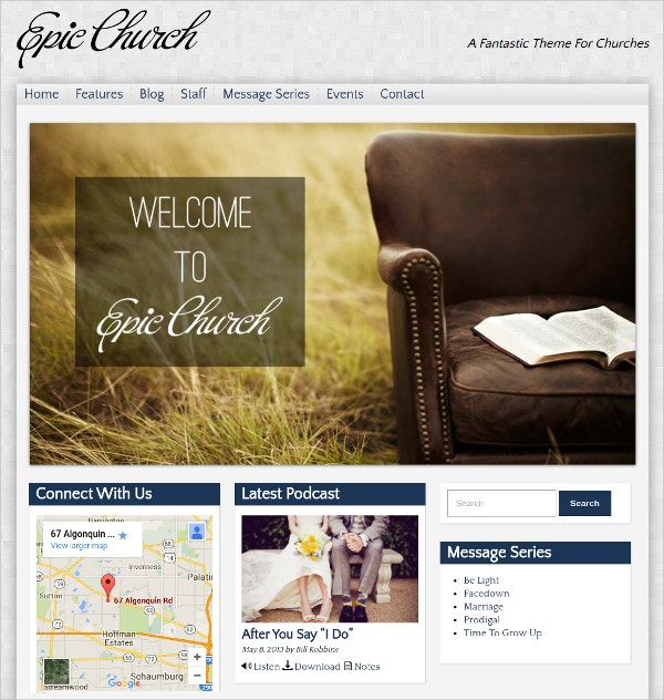 Epic Podcasting Church WordPress Theme $59