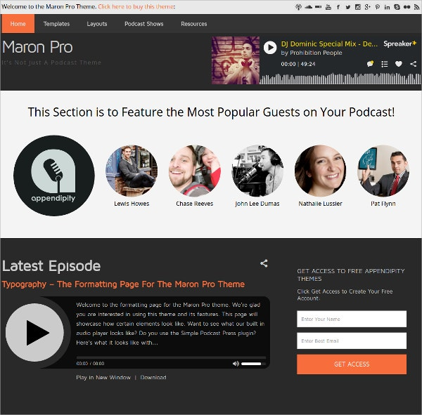 Multimedia Podcast Theme $59