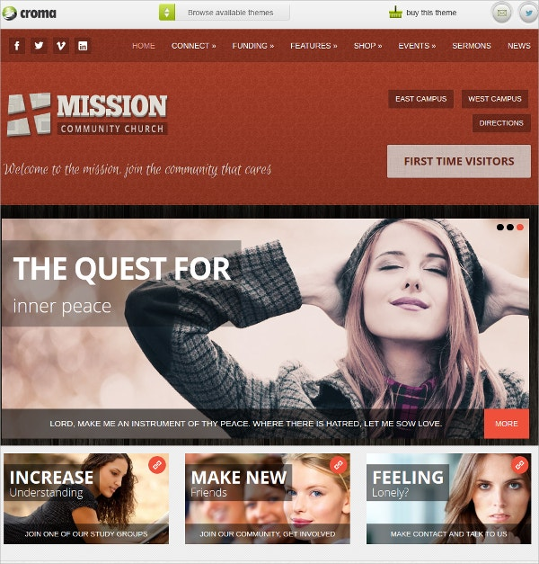 Podcast Crowdfunding And Commerce For Churches WordPress Theme $64