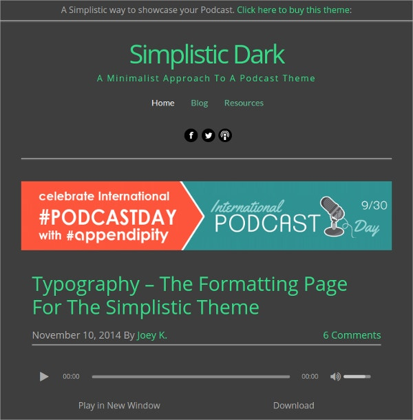 Minimalism Podcast WordPress Theme $39