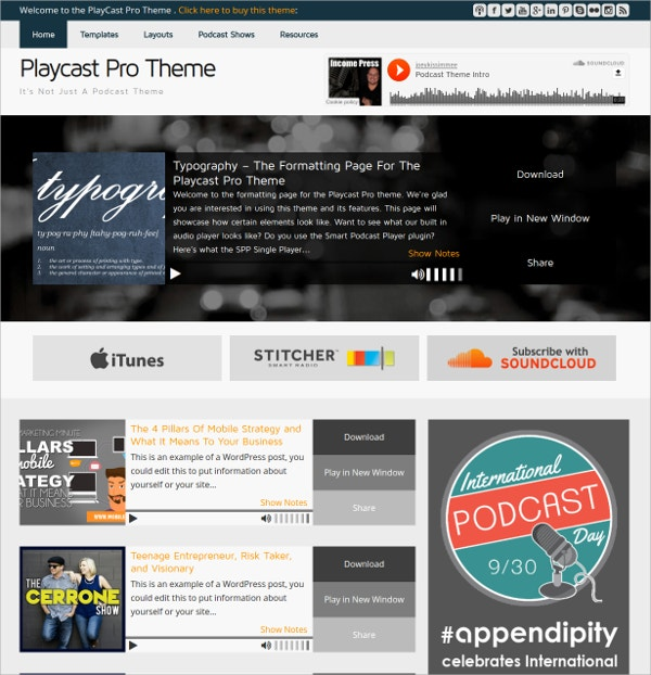 Video Podcast WordPress Theme $59