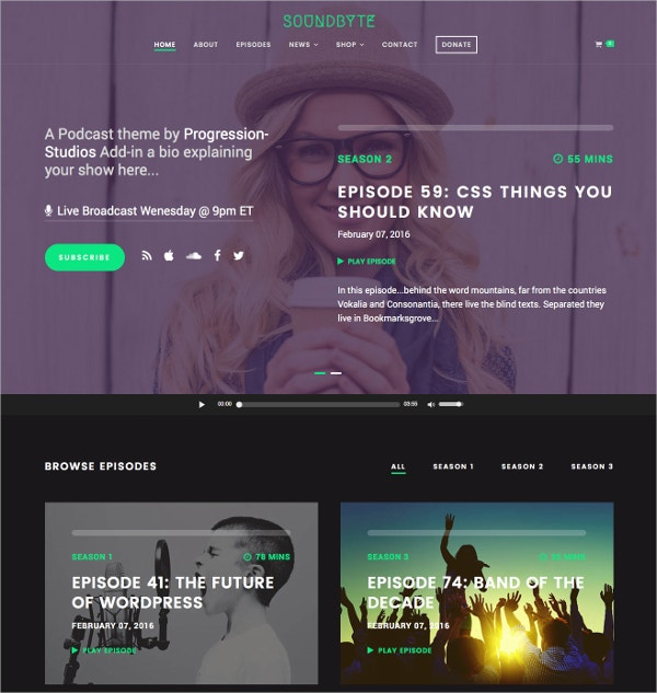 Podcast & Audio WordPress Theme $59