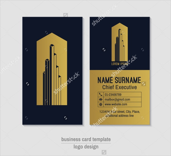 vertical gold foil business card